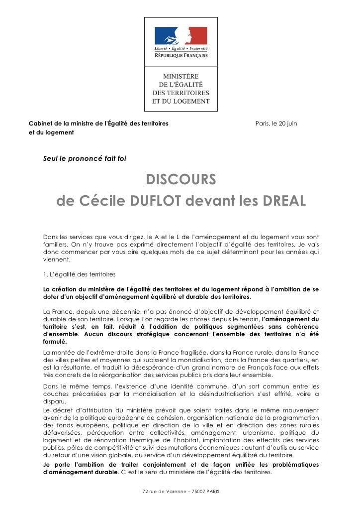 Cabinet de la ministre de l'Égalité des territoires                           Paris, le 20 juinet du logement     Seul le ...
