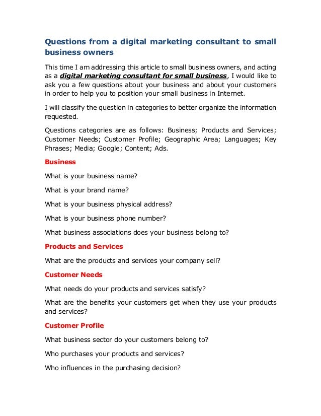 20jun17 Questions From A Digital Marketing Consulting Firm To Small B