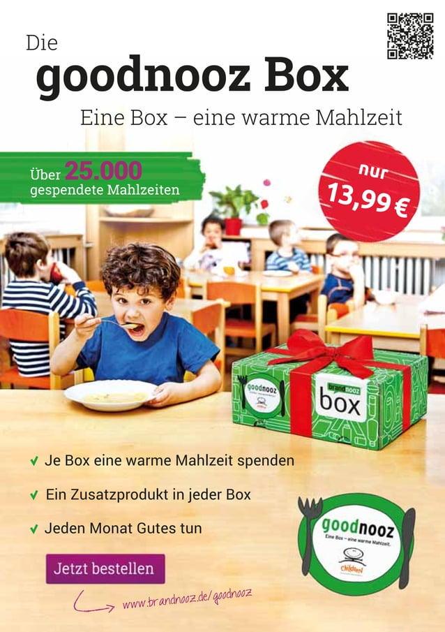 Die Eine Box – eine warme Mahlzeit goodnooz Box Je Box eine warme Mahlzeit spenden Jeden Monat Gutes tun Ein Zusatzprodukt...