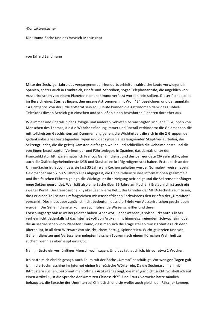 -Kontaktversuche-Die Ummo-Sache und das Voynich-Manuskriptvon Erhard LandmannMitte der Sechziger Jahre des vergangenen Jah...
