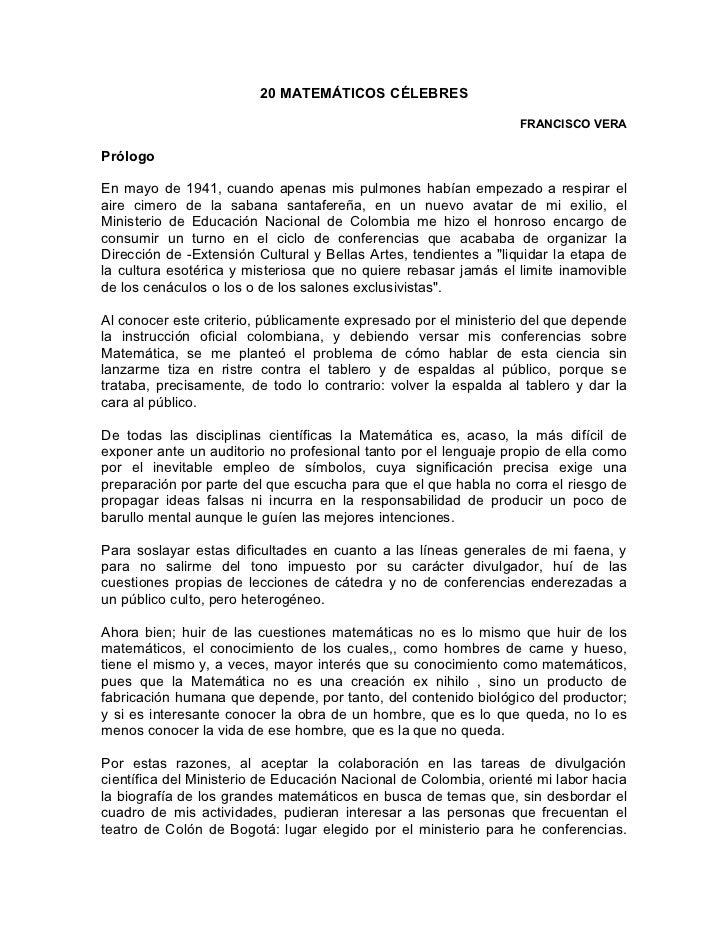 20 MATEMÁTICOS CÉLEBRES                                                                  FRANCISCO VERAPrólogoEn mayo de 1...