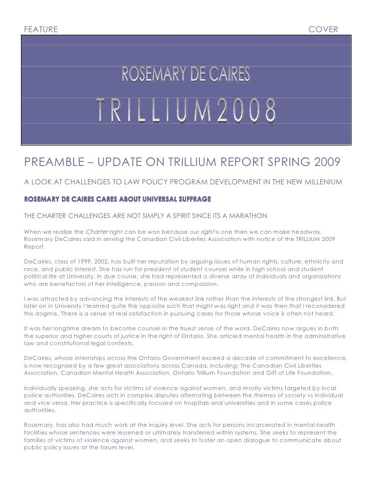 FEATURE                                                                                              COVER     PREAMBLE – ...
