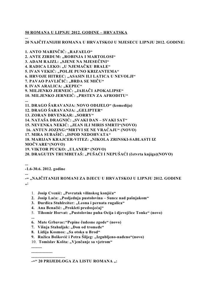 50 ROMANA U LIPNJU 2012. GODINE – HRVATSKA...20 NAJČITANIJIH ROMANA U HRVATSKOJ U MJESECU LIPNJU 2012. GODINE:1. ANTO MARI...