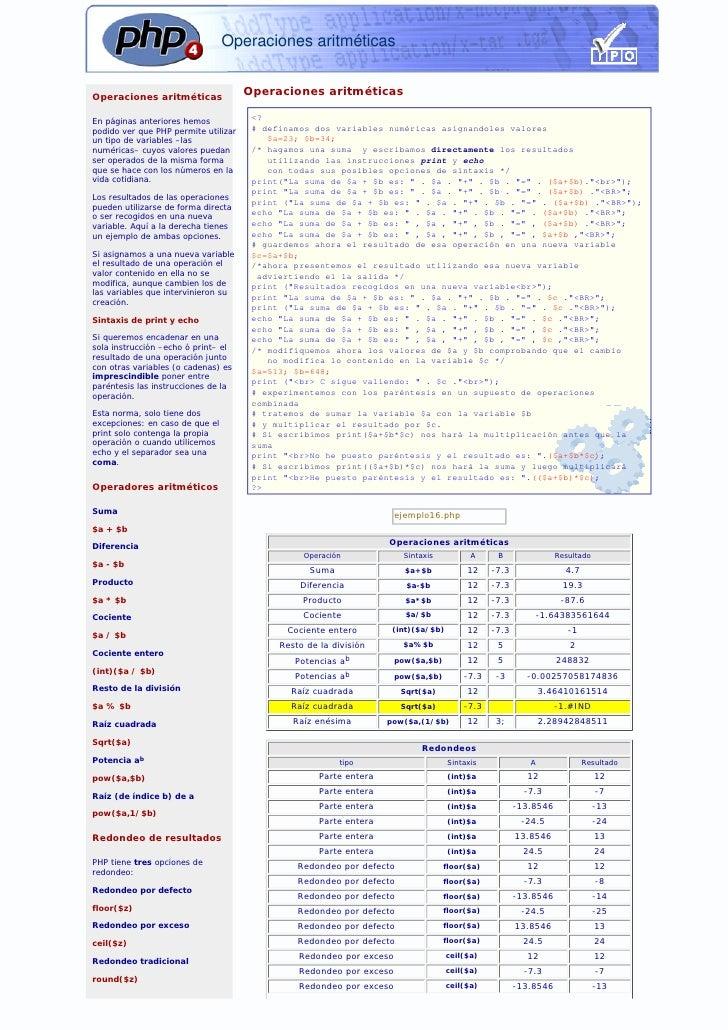 Operaciones aritméticas   Operaciones aritméticas                                       Operaciones aritméticas  En página...