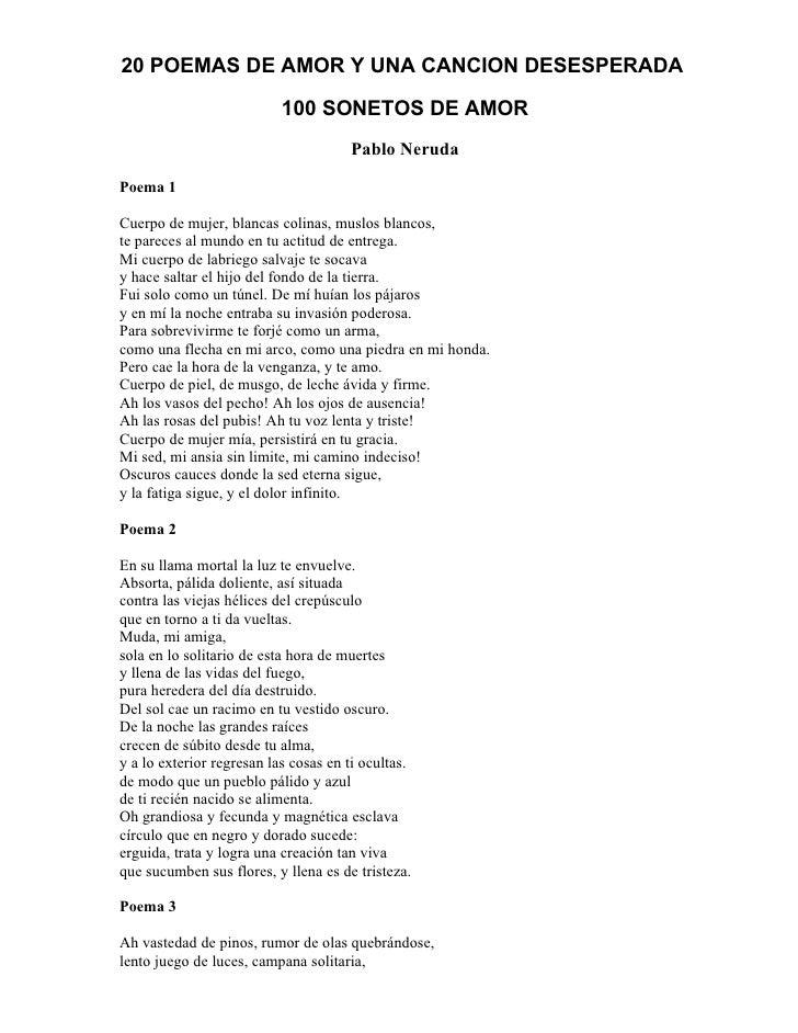 20 Poemas De Amor Y Una Cancion Pablo Neruda