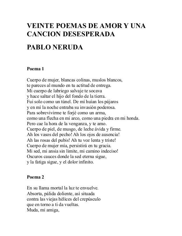20 Poemas De Amor Y Una Cancion Desesperada Pablo Neruda