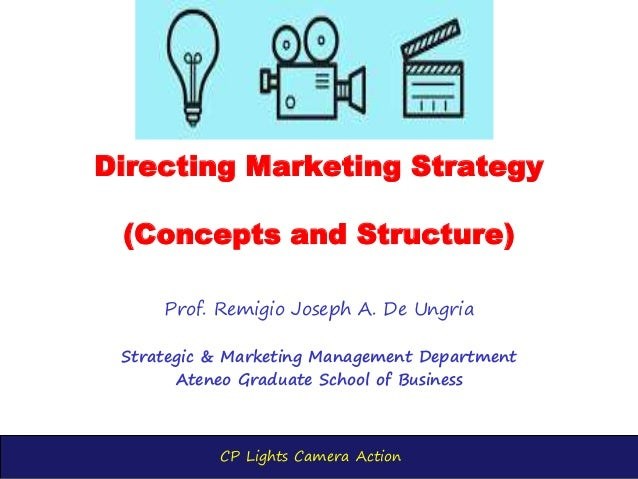 CP Lights Camera Action Directing Marketing Strategy (Concepts and Structure) Prof. Remigio Joseph A. De Ungria Strategic ...