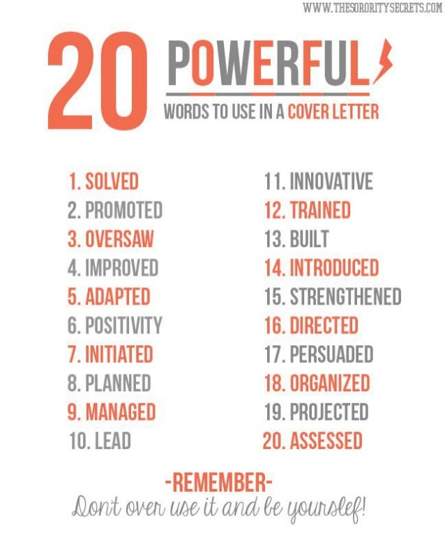 20 Powerful words to use in cover letter
