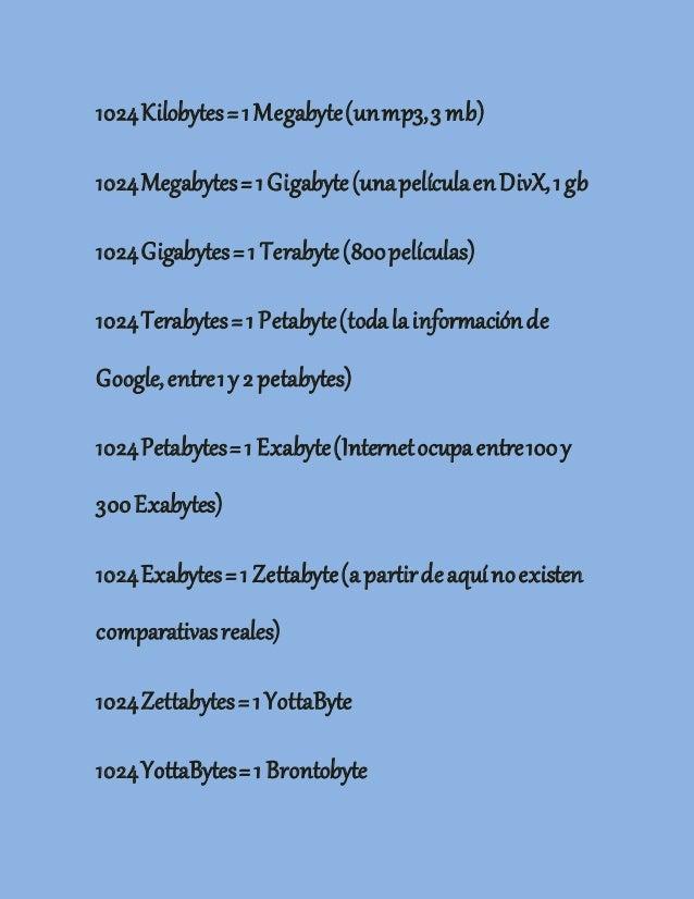 1024Kilobytes=1Megabyte(unmp3,3 mb) 1024Megabytes=1Gigabyte(unapelículaenDivX,1gb 1024Gigabytes=1 Terabyte(800películas) 1...
