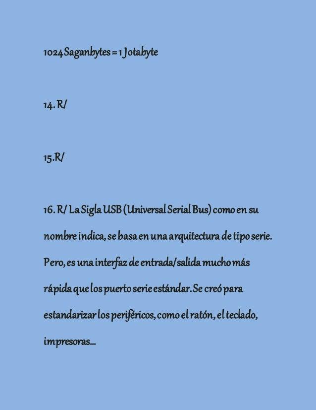 1024Saganbytes=1 Jotabyte 14.R/ 15.R/ 16.R/LaSiglaUSB(UniversalSerialBus)comoensu nombreindica,sebasaenunaarquitecturadeti...