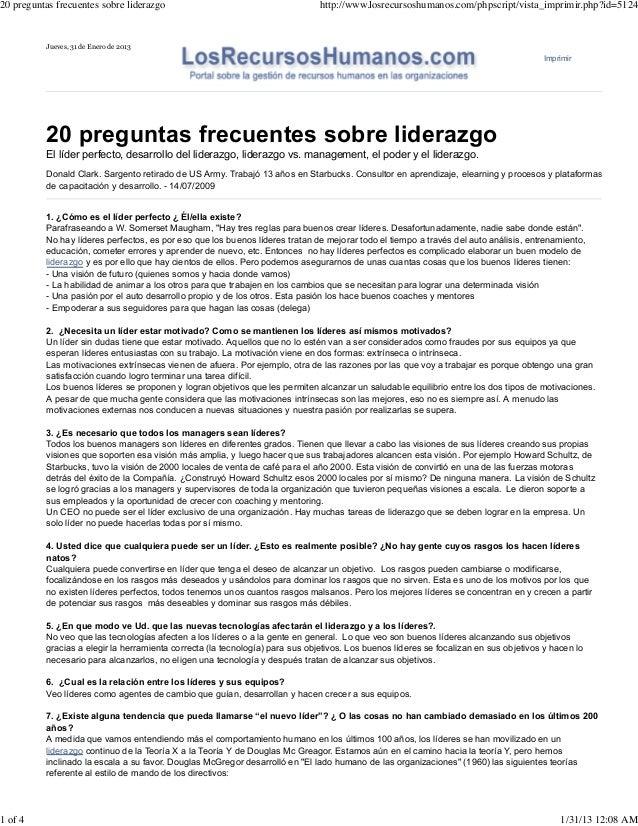 20 preguntas frecuentes sobre liderazgo                                        http://www.losrecursoshumanos.com/phpscript...