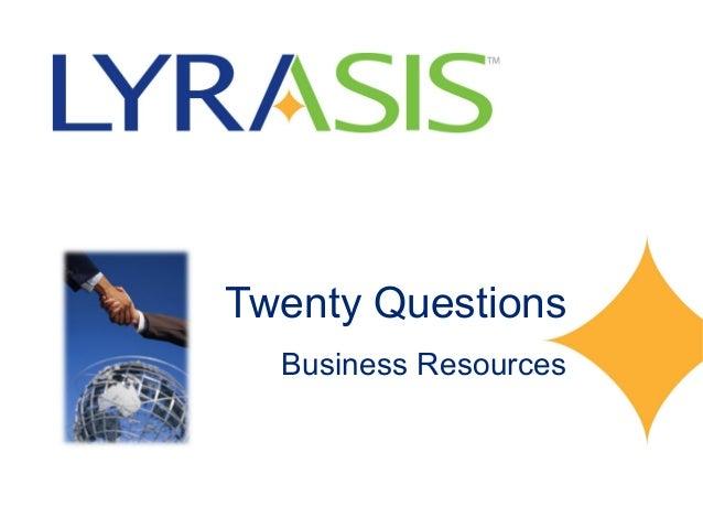 Twenty Questions  Business Resources