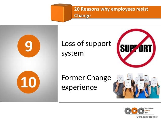 Catherine Adenle 9 20 Reasons why employees resist Change 10 Loss of support system Former Change experience