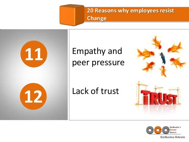 Catherine Adenle 11 20 Reasons why employees resist Change 12 Empathy and peer pressure Lack of trust
