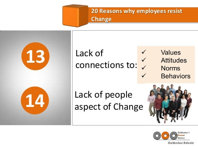 Catherine Adenle 13 20 Reasons why employees resist Change 14 Lack of connections to: Lack of people aspect of Change