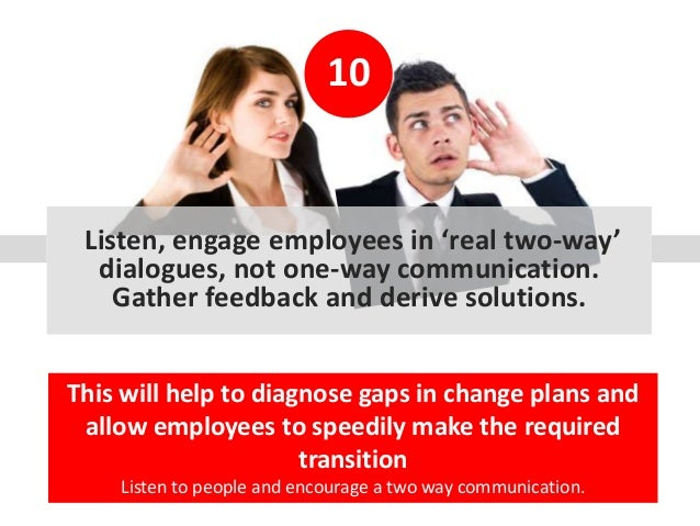 10 Listen, engage employees in 'real two-way' dialogues, not one-way communication. Gather feedback and derive solutions. ...