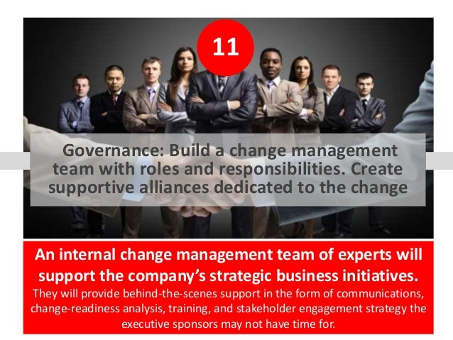11 Governance: Build a change management team with roles and responsibilities. Create supportive alliances dedicated to th...
