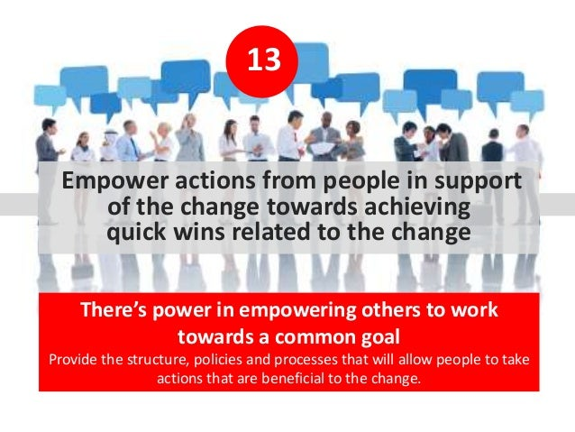 13 Empower actions from people in support of the change towards achieving quick wins related to the change There's power i...