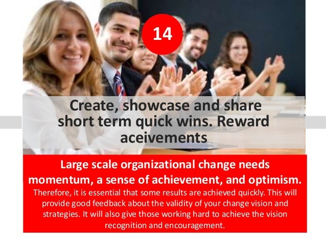 14 Create, showcase and share short term quick wins. Reward aceivements Large scale organizational change needs momentum, ...