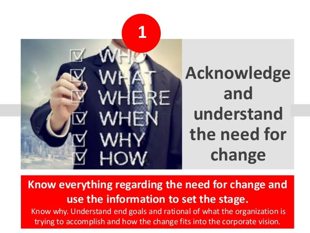 1 Acknowledge and understand the need for change Know everything regarding the need for change and use the information to ...