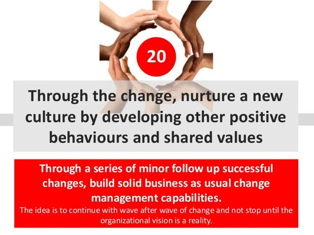 20 Through the change, nurture a new culture by developing other positive behaviours and shared values Through a series of...