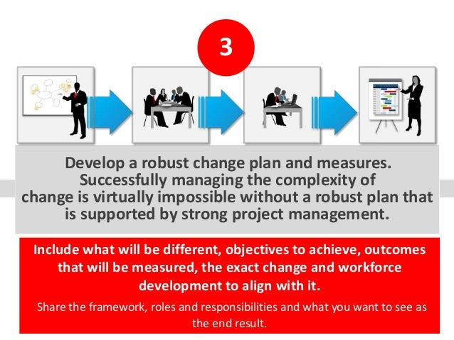 Develop a robust change plan and measures. Successfully managing the complexity of change is virtually impossible without ...