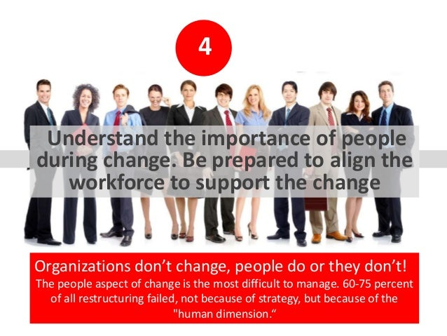 4 Understand the importance of people during change. Be prepared to align the workforce to support the change Organization...