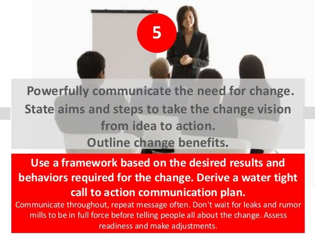 5 Powerfully communicate the need for change. State aims and steps to take the change vision from idea to action. Outline ...