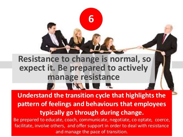 6 Resistance to change is normal, so expect it. Be prepared to actively manage resistance Understand the transition cycle ...