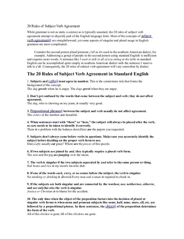 20 Rules Of Subject Verb Agreement