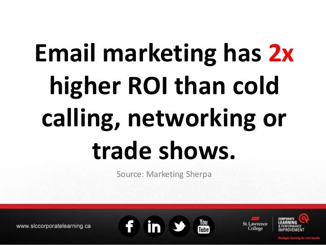 Email marketing has 2x higher ROI than cold calling, networking or trade shows. Source: Marketing Sherpa