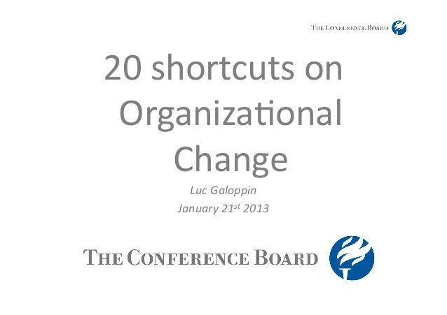 20	  shortcuts	  on	   Organiza1onal	         Change	           Luc	  Galoppin	         January	  21st	  2013