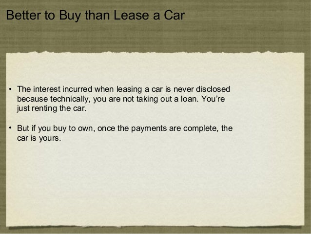 Should You Lease Or Buy To Own A Car