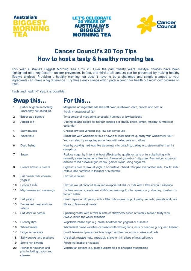 Cancer Council's 20 Top TipsCancer Council's 20 Top TipsCancer Council's 20 Top TipsCancer Council's 20 Top TipsHow to hos...