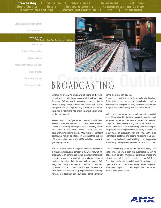 Broadcasting l Education l Entertainment l Government | Healthcare  Home Theater | Hotels l Houses of Worship l Network Op...