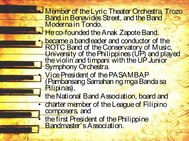 • Hewasconductor of theNational Opera Company for 23 yearsfrom 1937 to 1960. • Rubio's compositions include: – Bulaklaken,...