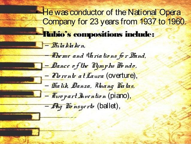 – Ang Magsasaka, – Bukang Liwayway, – Co ncertino in C(marimbaand piano), – Filipinas Ko ng Mahal, – Hatulan Mo Ako , – Gi...