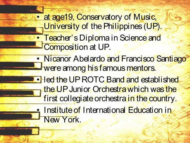 • study grant by theUNESCO in 1949. • Hewasadelegateto thegeneral assembly of theInternational Society for Music Education...