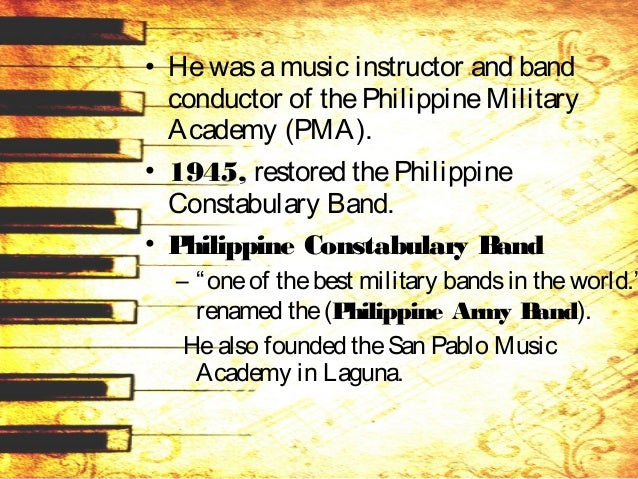 • Faculty member of theUP Conservatory of Music. • 1961, Music director of the Conservatory of Music, UST • 1964, School o...