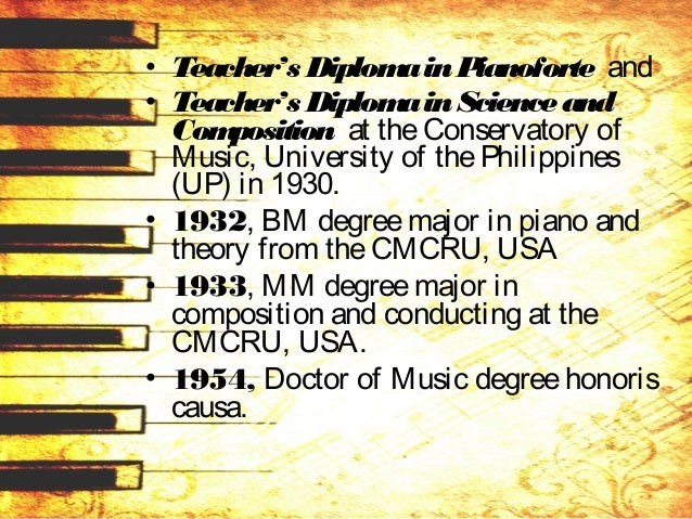 • 1947, Doctor of Philosophy degree major in composition from the Neotarian Collegeof Philosophy in KansasCity, USA • taug...