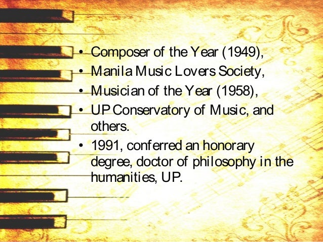 De Leon wrote piano compositions: • hymns, • marches, • art songs, • chamber music, • symphonic poems, • overtures, • band...