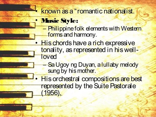 • apoetic aural description of his hometown Angono, and his nationalistic symphonic poem Lahing Kayumanggi(1962). • Other ...