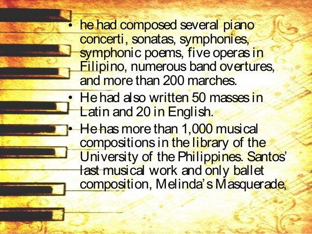 • Melinda'sMasquerade, was performed in 1995, ayear after his death. • Santospassed away on November 4, 1994 in Swoyersvil...