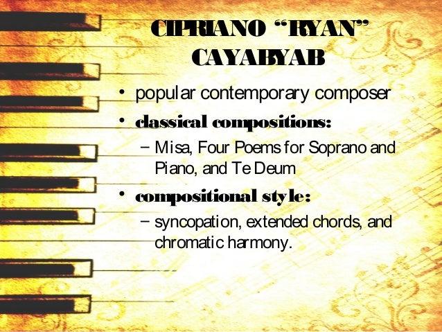 • Numerous compositions are the award-winning – Kay Gandang Ating Musika(1978), as well asthe – modern zarzuelaAlikabok (2...
