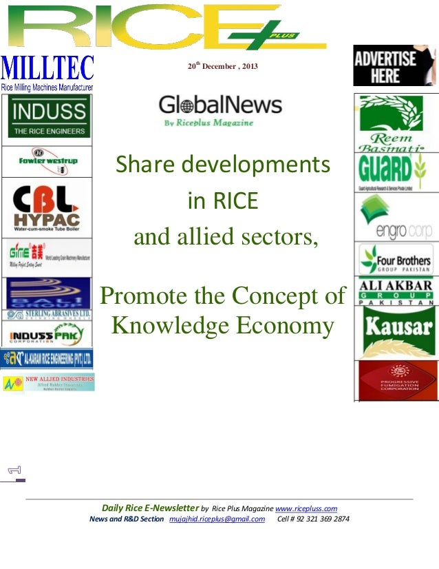 20th December , 2013  Share developments in RICE and allied sectors, Promote the Concept of Knowledge Economy  Daily Rice ...