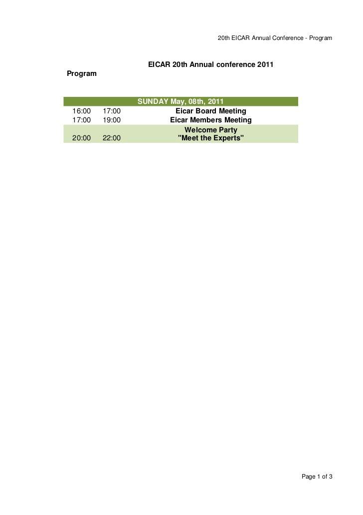 20th EICAR Annual Conference - Program                    EICAR 20th Annual conference 2011Program                  SUNDAY...