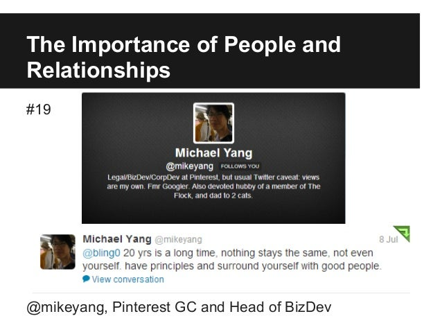 The Importance of People and Relationships #19 @mikeyang, Pinterest GC and Head of BizDev