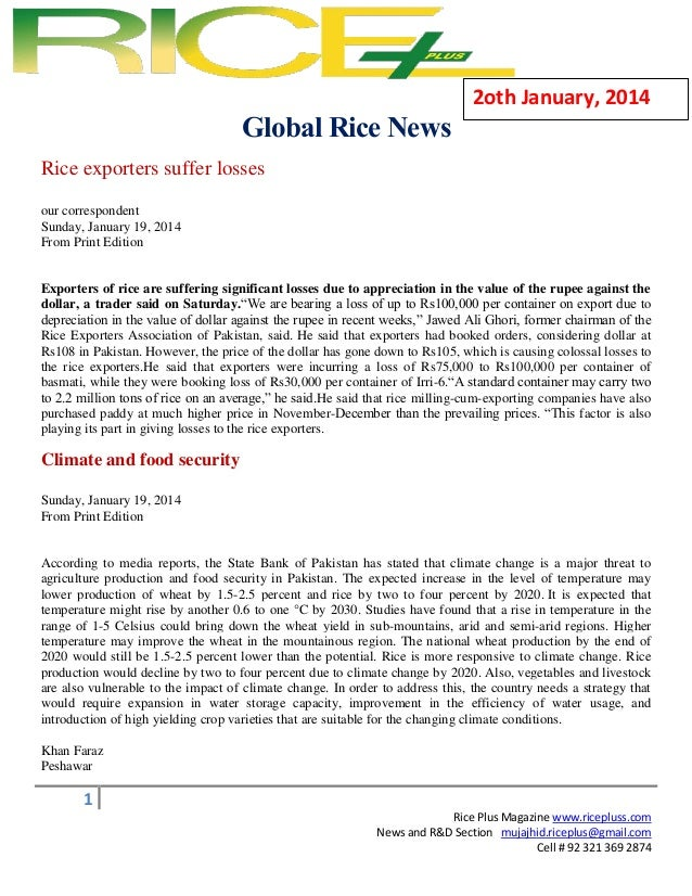 2oth January, 2014  Global Rice News Rice exporters suffer losses =  our correspondent Sunday, January 19, 2014 From Print...