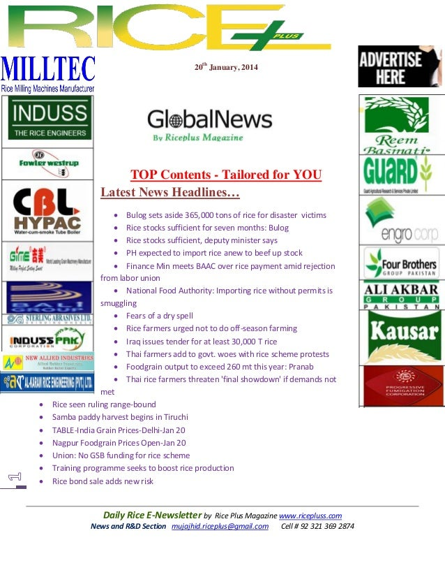 20th January, 2014  TOP Contents - Tailored for YOU Latest News Headlines…           Bulog sets aside 365,000 tons...