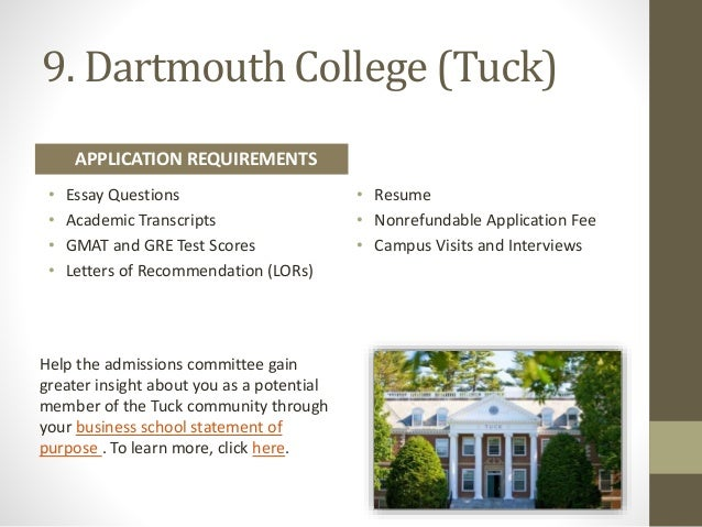 Dartmouth (Tuck) Admissions Essays for 2011-2012